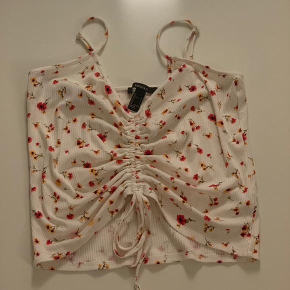Forever 21 Tops - Floral cropped tank with ruched drawstring front